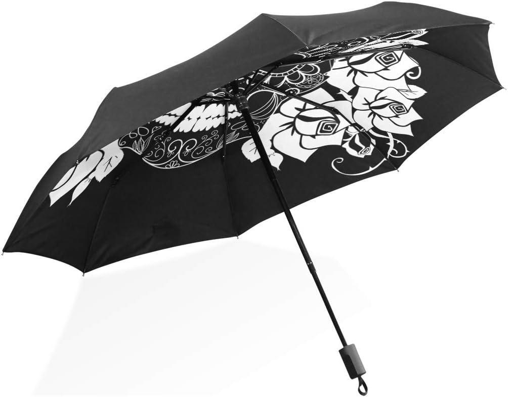Umbrella Art Candy Skull Cheap mail order sales Flower Black Folds 3 White Anti-UV Ligh Mesa Mall