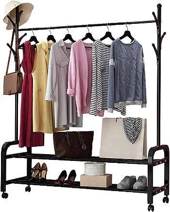44 x 88 x 185 cm Teaio Kleiderst/änder auf Rollen Verstallbar mit Schuhablage Kleiderstange 2 Kleiderstange aus Metall Kleiderregal mit R/äder und Haken EU Stock