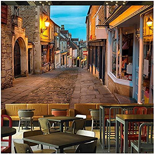 Papel pintado mural europeo Italia calle pueblo paisaje foto murales restaurante cafetería decoració Pared Pintado Papel tapiz 3D Decoración dormitorio Fotomural sala sofá pared mural-250cm×170cm