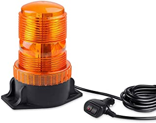 Magnetic Amber LED Emergency Strobe Light, WOWTOU 12V-24V Rotating Warning Safety Flashing Beacon Lights for Truck Tractor Forklift Golf Cart SUV Utility Car Construction Vehicle