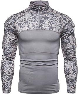 Camicia Funzionale a Maniche Lunghe da Uomo Fitness Maglietta da Allenamento Slim Fit Maglietta Sportiva Stand Collo Bodyb...