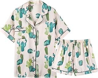 TYT Estilo Chino Pijamas de Seda de Hielo Mujer Verano Cactus de Manga Corta Pantalones Cortos Impresos Seda Servicio a Do...