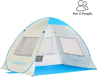 ZOMAKE Pop Up Beach Tent for 2-3 Person Instant Portable Opening Beach Tent Sun Shelters with Anti UV 50+ UV Protection fo...