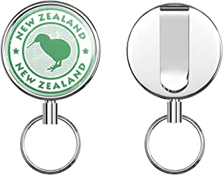 New Zealand Kiwi Bird Grunge Stamp Round ID Badge Key Card Tag Holder Badge Retractable Metal Reel Badge and Key Holder with Belt Clip