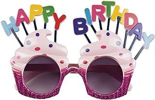 BETOY - Set di 4 occhiali da festa Happy Birthday, occhiali da sole divertenti, per adulti e bambini, per feste di compleanno