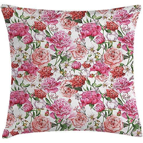 Nat Abra Funda de Almohada de Tiro de Paisaje, impresión de Estilo de Pintura Floral de Estilo Victoriano con peonías y Rosas, Fundas de Fundas de Almohada para sillón de sofá 45X45CM
