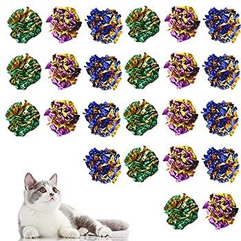 Jinlaili 24 Pièces Balles Colorées pour Chat, Boules Ondulées en Mylar, Jouet pour Chat Mylar Balles, Chat Crinkle Balles en Papier, Coloré Chat Balle Jouet, pour Jouer et Interagir avec Les Chats