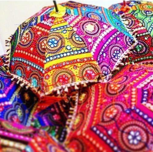Paraguas indio de 5 piezas para decoración de boda, bordado hecho a mano, elefante, decoración de sombrillas de espejo, sombrillas de algodón, lote (multicolor)
