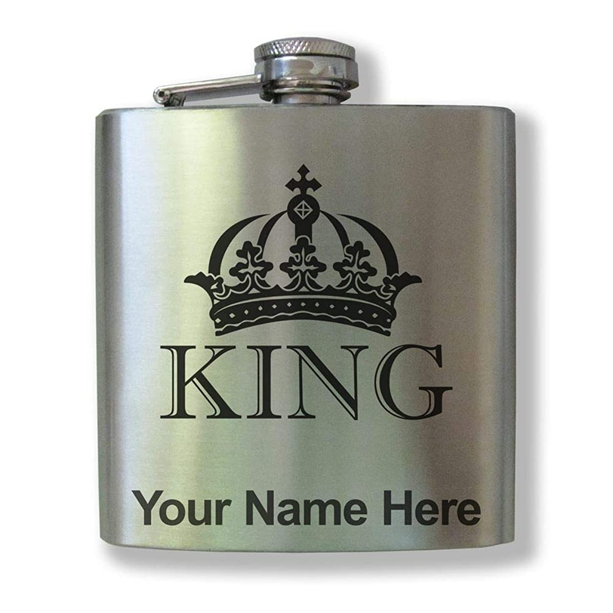 Stainless Steel Flask, King Crown, Personalized Engraving Included