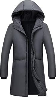 Men's Fashion Down Jacket Long Youth Warm Hooded Slim White Duck Down Coat outerwaer