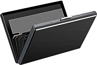 Storite 6 Slots RFID Blocking Metal Credit Card Holder Wallet (9.5 x 6.5 x 1.3 cm, Black)