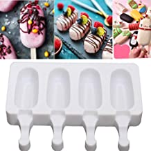 BALERINE 4 Grids Reusable Silicone Popsicled Maker Mould Frozen Ice Cream Mold DIY Tool Ice Cream Silicone Mo