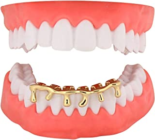 Custom Fit Drip Grillz 14k Gold Plated Hip Hop Teeth Caps Lower Bottom Grill