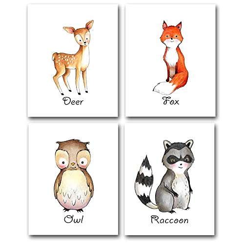 Lone Star Art Woodland Animals - Set of Four Photos (8x10) Unframed - Makes a Great Gift Under $20 for Child's Room or Nursery Decor