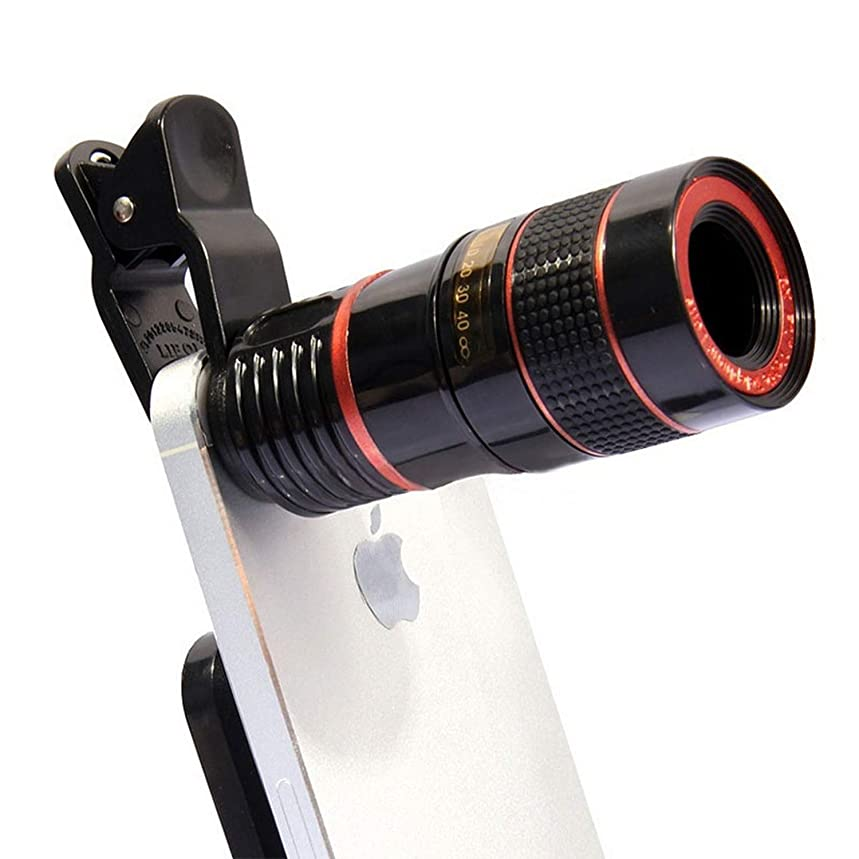 12X Zoom Optical Monocular Telescopes Portable for Mobile Phone Camera Lens for iPhone Huawei Samsung,Black