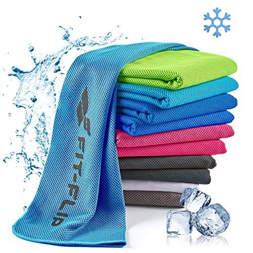 Fit-Flip Toalla de enfriamiento 100x30cm, Toalla de Deporte refrescante, Toalla fría, Cooling Towel, Toalla de Microfibra – Color: Azul, tamaño: 100x30cm