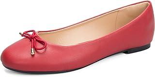 WFL جولة اصبع القدم النساء شقق الانزلاق على أحذية الباليه المسطحة لينة, (كلاسيك ريد), 37 EU