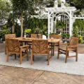 Walker Edison AZW7TXVINBR 6 Person Outdoor Wood Chevron Patio Furniture Dining Set Extendable Table Chairs All Weather Backyard Conversation Garden Poolside Balcony, Brown