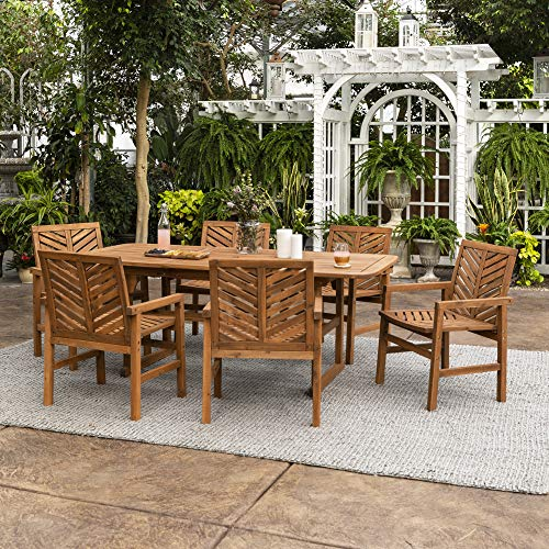 Walker Edison 6 Person Outdoor Wood Chevron Patio Furniture Dining Set Extendable Table Chairs All Weather Backyard Conversation Garden Poolside Balcony, 7 Piece, Brown