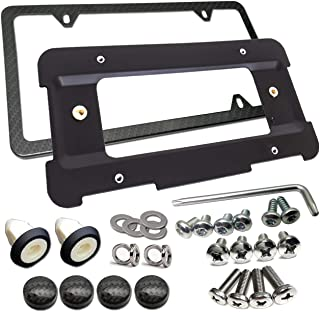 Rear License Plate Bracket Frame- Compatible BMW 1 to 6 Series Mount Tag Holder with Plug-in Expanding Nuts & Carbon Fiber Style License Plate Frame and Stainless Steel Screw Compatible All BMW