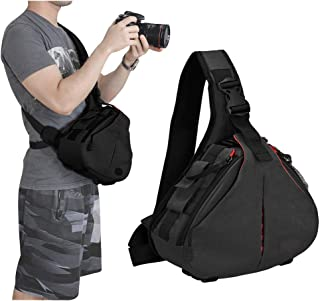 Camera Bag Sling Backpack Camera Case Waterproof with Rain Cover Tripod Holder, Compatible for DSLR/SLR Mirrorless Cameras (Canon Nikon Sony Pentax) and Accessories Black