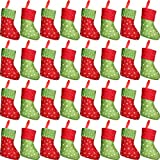 32 Pieces Mini Christmas Stockings Silverware Holders,7.5inch Felt with Snowflake Printed Little Christmas Stockings, Gift and Treat Bags Christmas Hanging Socks for Xmas Tree, Home, Garden Decoration