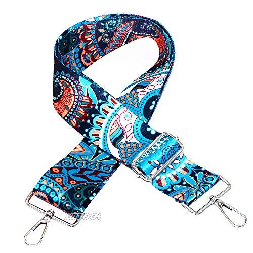 SWTOOL 5,1 cm breit, 71,1 cm – 127 cm längenverstellbare Handtaschengurt im Gitarren-Stil, mehrfarbig, Canvas-Ersatzgurt, Crossbody-Gurt, mit 2 silberfarbenen Metallschnallen (Style1)