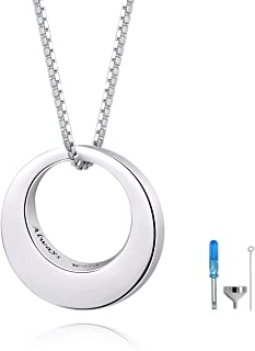 Sterling Silver Circle of Life Eternity Memorial Urn Necklace Always with me Cremation Jewelry Pendant Necklaces for ashes