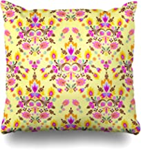 YeaSHARK Throw Pillow Covers Peru Yellow William Folk Ornamental Floral Pattern Flower Motifs Lace Morris Allover Russian Ornate Zippered Design Square 20