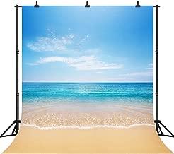 DePhoto 8x8Ft Seamless Beautiful Beach Vinyl Photography Backdrop Photo Background Studio Prop PGT082A