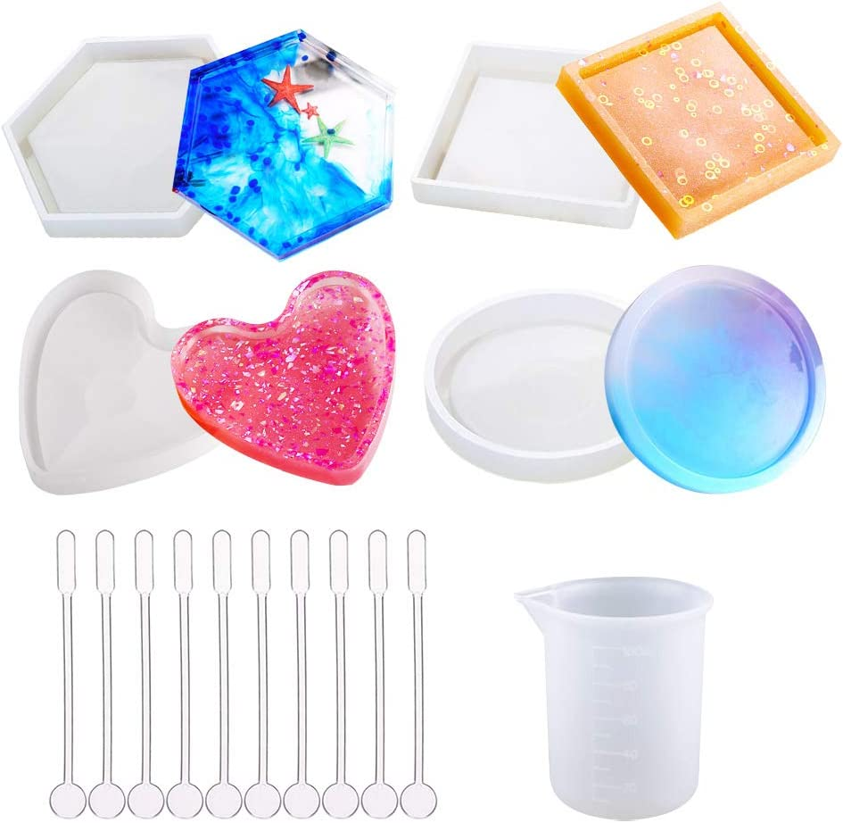 4 Pack DIY Coaster Silicone Mold Casting Ro National uniform free shipping Include Inexpensive Molds Epoxy