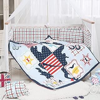 i-baby 9 Piece Nursery Crib Bedding Set for Newborn Baby Girls Infant Crib Sheet Duvet Pillow Bumper Cot and 100% Cotton Printed Cover (Joyful Cowboy)