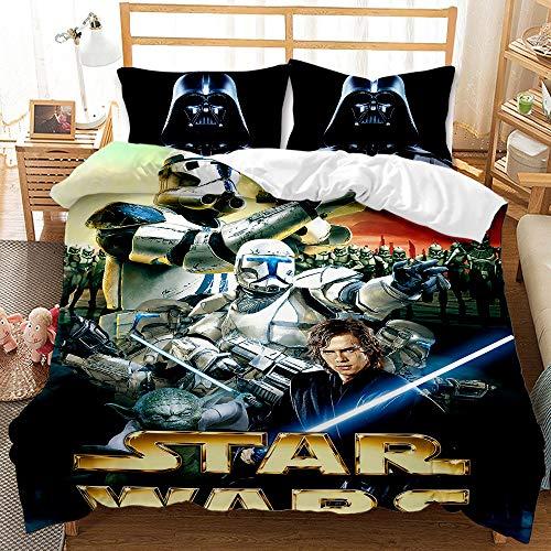 Probuk Star Wars - Funda nórdica de 100 % microfibra, ropa de cama de regalo para niños, niños y adolescentes, impresión de Star Wars (A-05,135 x 200 cm (50 x 75 cm)