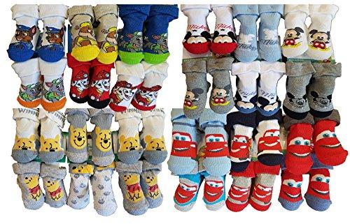 Disney. Chaussettes bébé Pieds formés Licence: Mickey, Pat Patrouille, Spiderman. Assortiments modèles Photos Selon arrivages (6/12 Mois, Pack DE 12 Surprise Modèle Garçon)