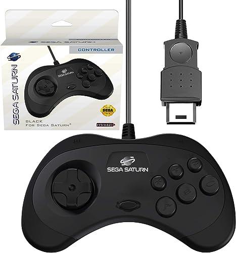 Retro-Bit Official Sega Saturn Controller Pad for Sega Saturn - Original Port - Black