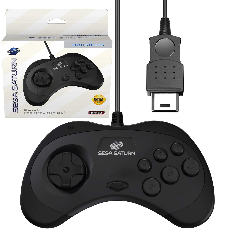 Retro-Bit Official Sega Saturn Controller Pad for Sega Saturn - Original Port - Black: Video Games