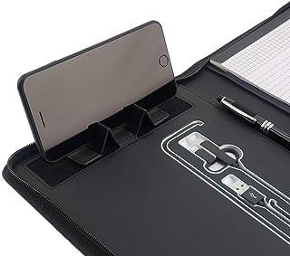 Phone Charging Business & Travel Portfolio w/Built-in Power Bank- Zipper Closure & Refillable Pad- Professional Organizer ...