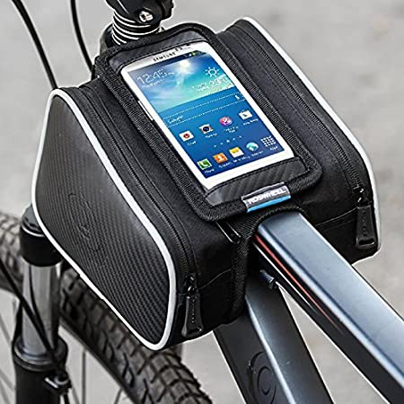 Waterproof MTB Bicycle Front Frame Pannier Tube Bag Phone TouchScreen Pouch Case