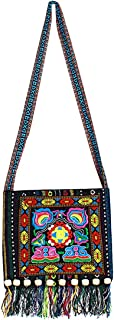 Sun Kea Women Handmade Tassels Sling Shoulder Bag Boho Embroidery Crossbody Purse