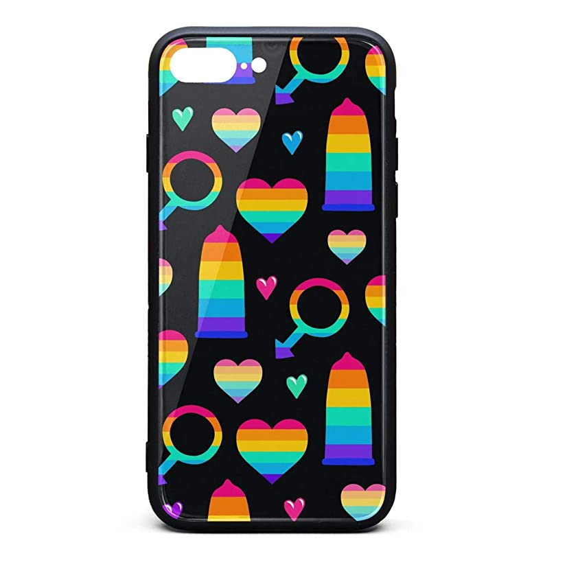 Condoms Hearts Male Gay Colorful Phone Case for iPhone 7Plus/8Plus TPU Gel Full Protective Stylish Anti-Scratch Fashionable Glossy Anti Slip Thin Shockproof Soft Case