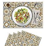 Vilber, juego de 4 manteles individuales Vinilo (30,5x45,6x0,22 cm), Antimanchas, Antideslizantes y resistentes al calor. Combinables con caminos de mesa y alfombras. KOLLAR 40