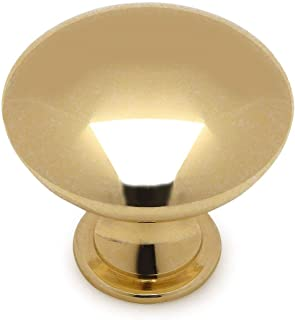 Cosmas 5305PB Polished Brass Traditional Round Solid Cabinet Hardware Knob - 1-1/4 Diameter - 25 Pack