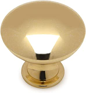 25 Pack - Cosmas 5305PB Polished Brass Traditional Round Solid Cabinet Hardware Knob - 1-1/4 Diameter