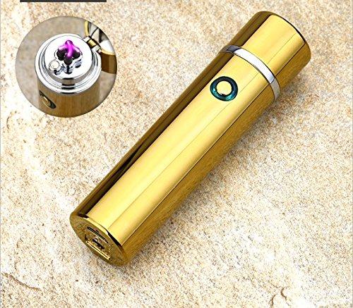 Feuerzeug rund, elektronisch aufladbar, windfest Arc Lighter mit USB Kabel gold glänzend