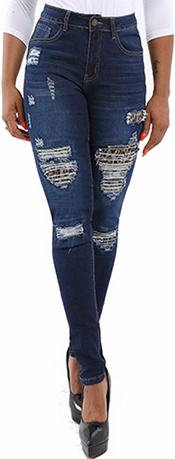 Leopard Blue Jeans for Women Skinny Stretch Ripped Destroyed Jeans Denim Pants 2020 L