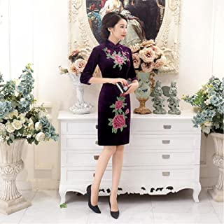 4 Color Velour Cheongsam Dress Flowers Embroidered High Quality Knee-Length Qipao Chinese Dress Women Clothing Size M-4Xl