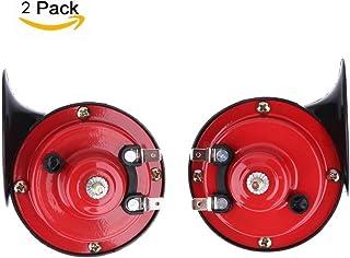 Bocina de Coche 12V 135DB Tono Alto y Tono Bajo Kit de Doble Cuerno de Metal Soporte Coches Camiones Motocicleta Bici Eléctrica (Rojo)