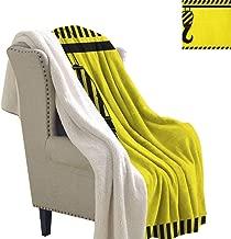 sunsunshine Construction Microfiber Blanket Mechanical Theme Black Hook with Diagonal Striped Frame Picking Pulling Throw Blanket 60x78 Inch Yellow Black