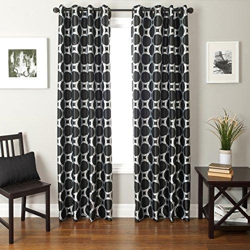 Softline Home Fashions catara Circle Series gewebten Jacquard Fenster Vorhang/Fall/Panel/Behandlung mit Tülle Top, Silber/schwarz, 55 Inches x 84 Inches