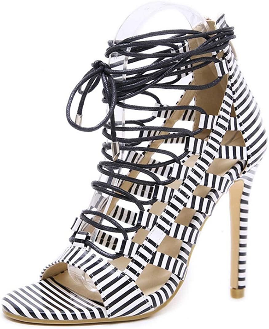 CYBLING Womens Striped Peep Toe High Stilettos Pumps Heels Strap 優先配送 男女兼用